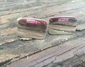 Sterling Silver Cuff Links with Rubies