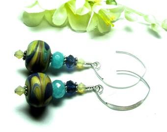 Organic Earrings Lampwork Earrings Unique Earrings Artisan Earrings Glass Earrings Beaded Earrings Glass Bead Earrings Dangle Earrings