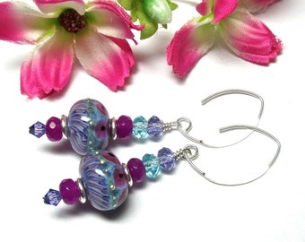 Elegant Earrings Lampwork Earrings Glass Earrings Artisan Earrings Handmade Earrings Beaded Earrings Glass Bead Earrings Purple Earrings