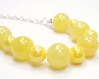 Walking on Sunshine Collection - Yellow Beaded Necklace - Quartzite Yellow Layer Necklace - Bright Seasonal Section Silver Necklace