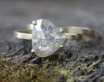 Natural Silver- Clear Asymmetrical Rose Cut Diamond Ring
