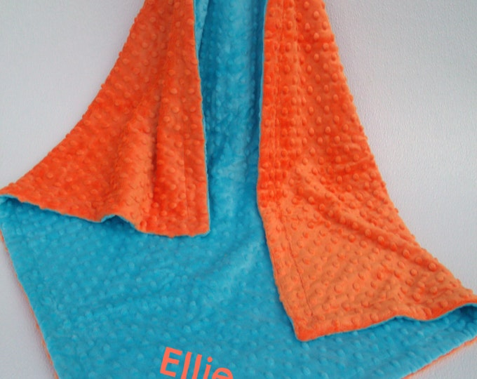 Aqua with Orange Minky Baby Blanket for Baby Boy or Girl Can Be Personalized