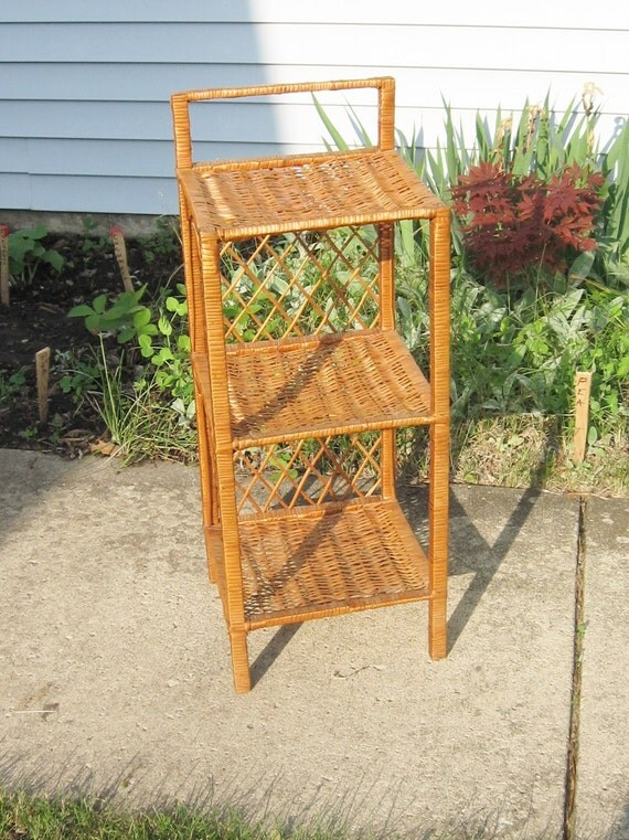 Vintage small wicker stand for Wicker stands bathrooms