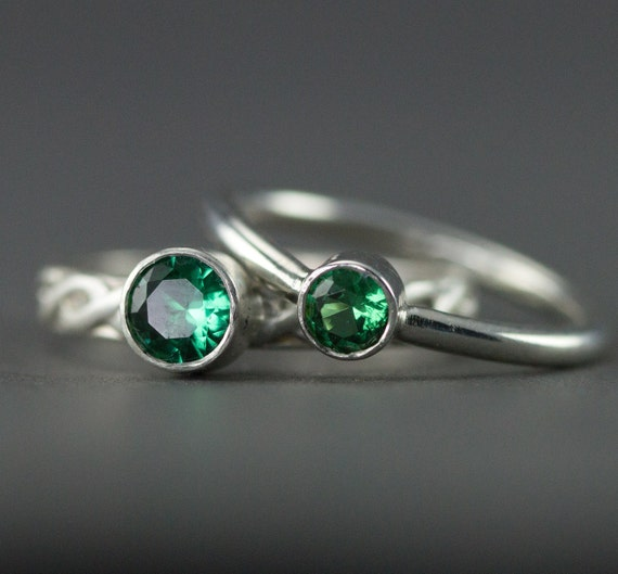 emerald stacking rings may birthstone sterling stack rings