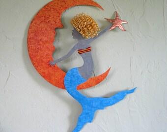 Metal Wall Art Mermaid Sculpture, Coastal Beach Wall Decor Mermaid and Moon Wall Art Terracotta Turquoise Blonde Mermaid 17 x 25