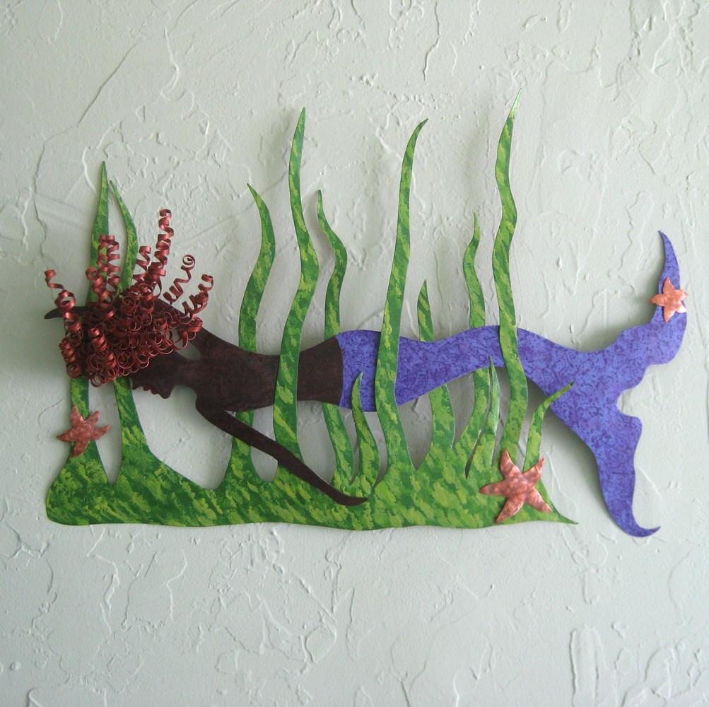 Metal Wall Art Mermaid Swimmer Sculpture Recycled Metal