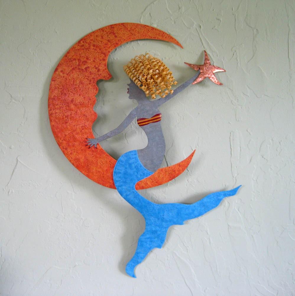 Metal Wall Art Mermaid Sculpture Coastal Beach Wall Decor