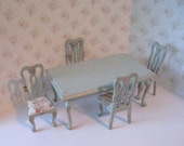 Dollhouse table, Rectangle table, four  chairs, blue table, roses, twelfth scale miniature