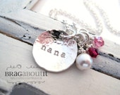 Personalized Grandma Necklace . Hand Stamped Grandma Necklace . Personalized Jewelry . Tiny Brag with Pearl & Birthstones