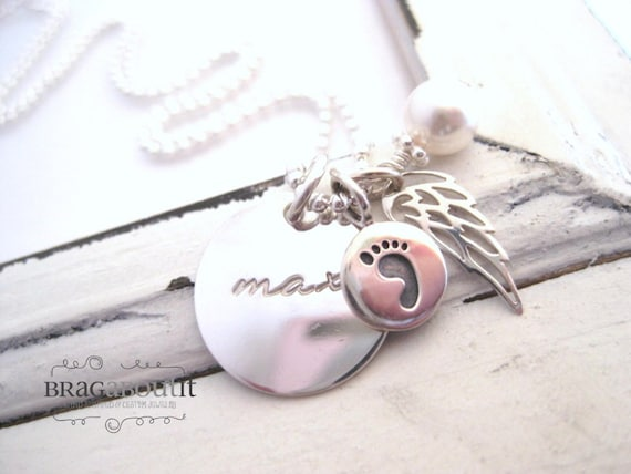 Angel Baby . Personalized Mommy Necklace . Infant Loss Necklace . Hand Stamped Jewelry . My Angel Baby