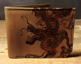 Bi-fold leather wallet - Dragon wallet -  0014