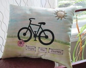 Bicycle Pillow, Accent Pillow, Travel Pillow, Bike Decor,  Appliqued Pillow, Free-Motion, Appliqued Bicycle Pillow, Journey Gift
