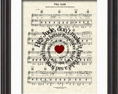 The Beatles Hey Jude Sheet Music Song Lyric Art Print, Spiral Word Art, Song Lyric Art Print, Sheet Music Art, Beatles Music Art Print