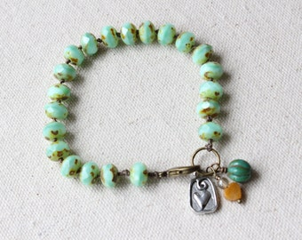 Mint Green Hand Knotted Bracelet, Heart Charm, Charm Bracelet, Spring Colors, Boho Style, Bohemian Style, Stacking Bracelet