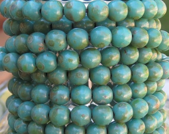 6mm Opaque Green Turquoise Picasso Czech Glass Round Beads - Qty 25 (AW32)