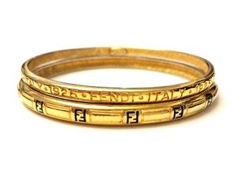 Fendi Bangle Bracelets, Gold FF Monogram Bracelets, Vintage Designer Signed Bracelets, 1970s Karl Lagerfeld Era Fendi Bracelets Gold Bangles