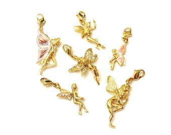 Kirks Folly Fairy Charms, Vintage Fairy Necklace and Bracelet Charms, Gold Fairy Elf Pendants, Magical Enamel & Rhinestone Fairies Elves