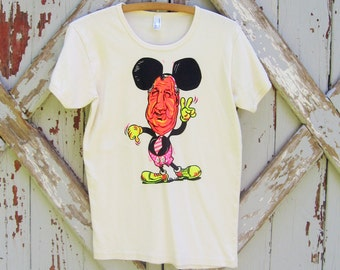 organic shirt with vintage iron-on transfer Mickey ears - L