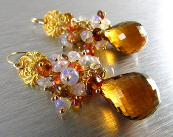 Madeira Citrine With Ethiopian Opal, Tourmaline and Crystal Gold Filled Cluster Earrings