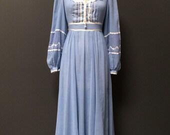 Vintage 1970s maxi dress country blue bohemian wedding sheer bridesmaid peasant dress small