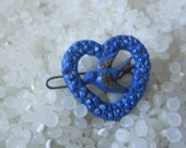 vintage barrette heart shape, Beautiful  blue with antique highlights with bird