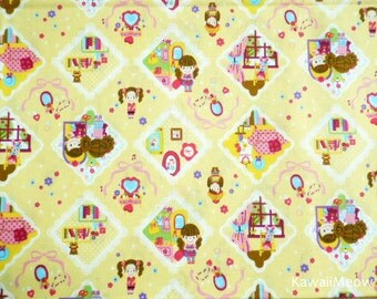 Kawaii Japanese Fabric - Cute Girls on Yellow - Fat Quarter (ca0913)