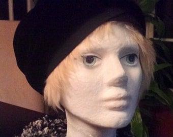 Black Velvet Cloche style Vintage Hat
