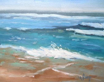 """Small Seascape Painting, Daily Painting, Small Oil Painting, Beach Painting, """"Beach Music""""  by Carol Schiff, 6x8"""" Oil"""