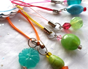 Beaded Cell Charm Zipper Pull - One of a Kind Unique Key ID Charms - CLEARANCE