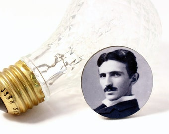 Nikola Tesla Brooch Pin Tie Tack - Science Inspiration Fashion Mens Accessories - Jewelry - Geek Style - Gift Idea