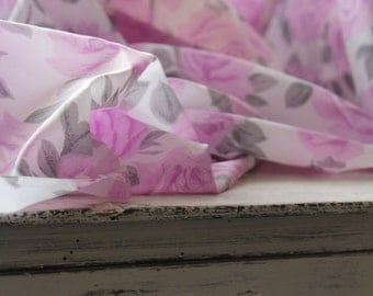 Vintage 1960's Lavender Retro Rose Fabric Acetate Window Panel Tutu Skirt Textile Lilac White Diaphanous Seamstress Workroom Supplies