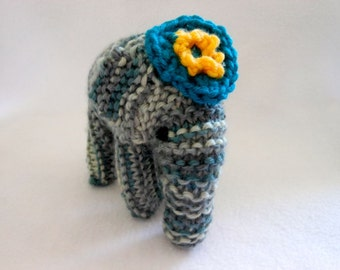Tiny Elephant Hand Knitted in Shades of Gray with Flower Hat, Animal, Amigurumi, Stuffed Animal, Stuffed Elephant