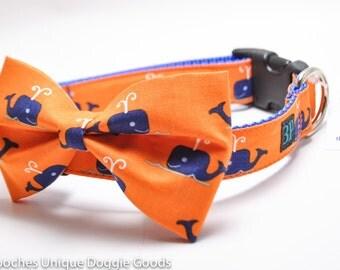 Whale Bowtie Dog Collar / Jonah's Whale / Orange Bowtie Dog Collar