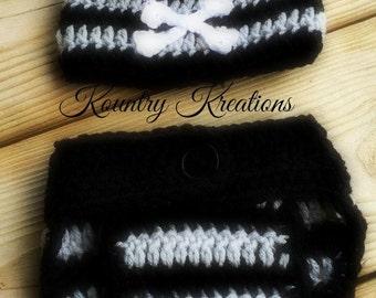 Crochet Skull and Crossbone Hat/Diaper Cover/Baby Skull and Crossbone Set/Skull and Crossbone Baby Hat and Diaper Cover Set (Ready to Ship)
