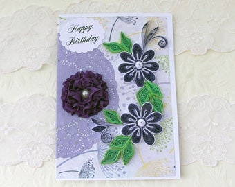 Birthday Card, Paper Quilling, Paper Quilled Card, Birthday, Ribbon Flower, Mom ,Daughter,  Doily,Thinking of You, Purple Floral Art