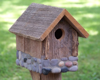 Weathered Wood Birdhouse with Stone Foundation - 1 1/4 inch Entry