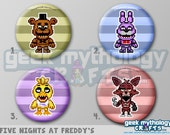 "Five Nights at Freddy's FNaF Pixel Art 1.5"" Pin Buttons or Magnets"
