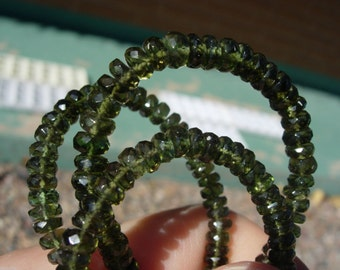 Moldavite - Beads - 5 mm diameter - faceted Gemstone - Moldavite beads - single one or multiple lot of 3 to 10  - three rondelles - genuine