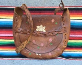 70s daisy & rose vine floral tooled, stiff leather handbag, purse with braided strap. Mexican, hippy, boho, native, ethnic.