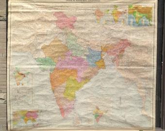 Massive Vintage School Wall Map of India, Pakistan and Burma 1962
