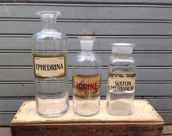 Trio of Antique Glass Apothecary or Lab Jars with Labels
