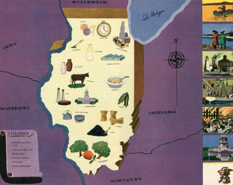 VIntage Pictorial Map of Illinois 1939 World's Fair