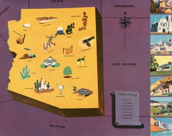 VIntage Pictorial Map of Arizona 1939 World's Fair