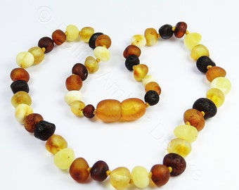Amber teething necklace Baroque raw mix