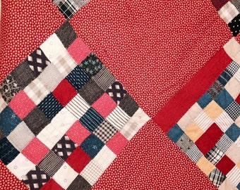 Vintage Antique Quilt Patchwork // Antique Quilt /// Vintage Bedding /// VintageThrow ///