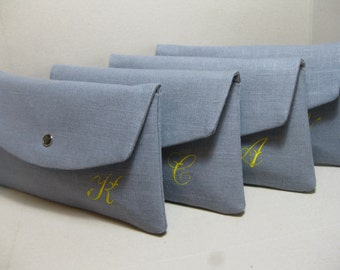 Personalized Bridesmaid Clutch in Linen with or without Monogram, Angled Envelope Clutch, Choose Linen Shade/Purchase (8) Get (9th) FREE
