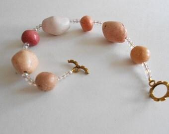 Orange Ceramic Beads Bracelet Orange Bracelet Rust Bracelet Tan Bracelet Ceramic Beads
