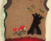 SALE 50% OFF sleeveless vest wool basketweave with applique tree