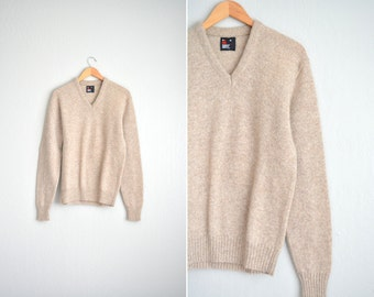 SALE // Size M/L // WOOL V-NECK Sweater // Tan - Marled Knit Pullover - Vintage '80s.