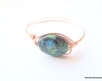 Chryscolla Stone Bangle Bracelet, Copper Wire Wrap, Blue Green and Copper, Handcrafted Jewelry, Gemstone Jewelry, Hammered Copper